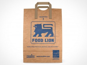 PSD Mockup Forward Standing Grocery Paper Bag with handles
