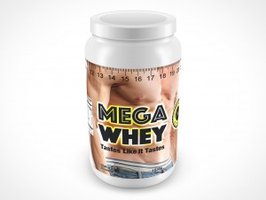 PSD Mockup Above View WHEY Protein Powder Container