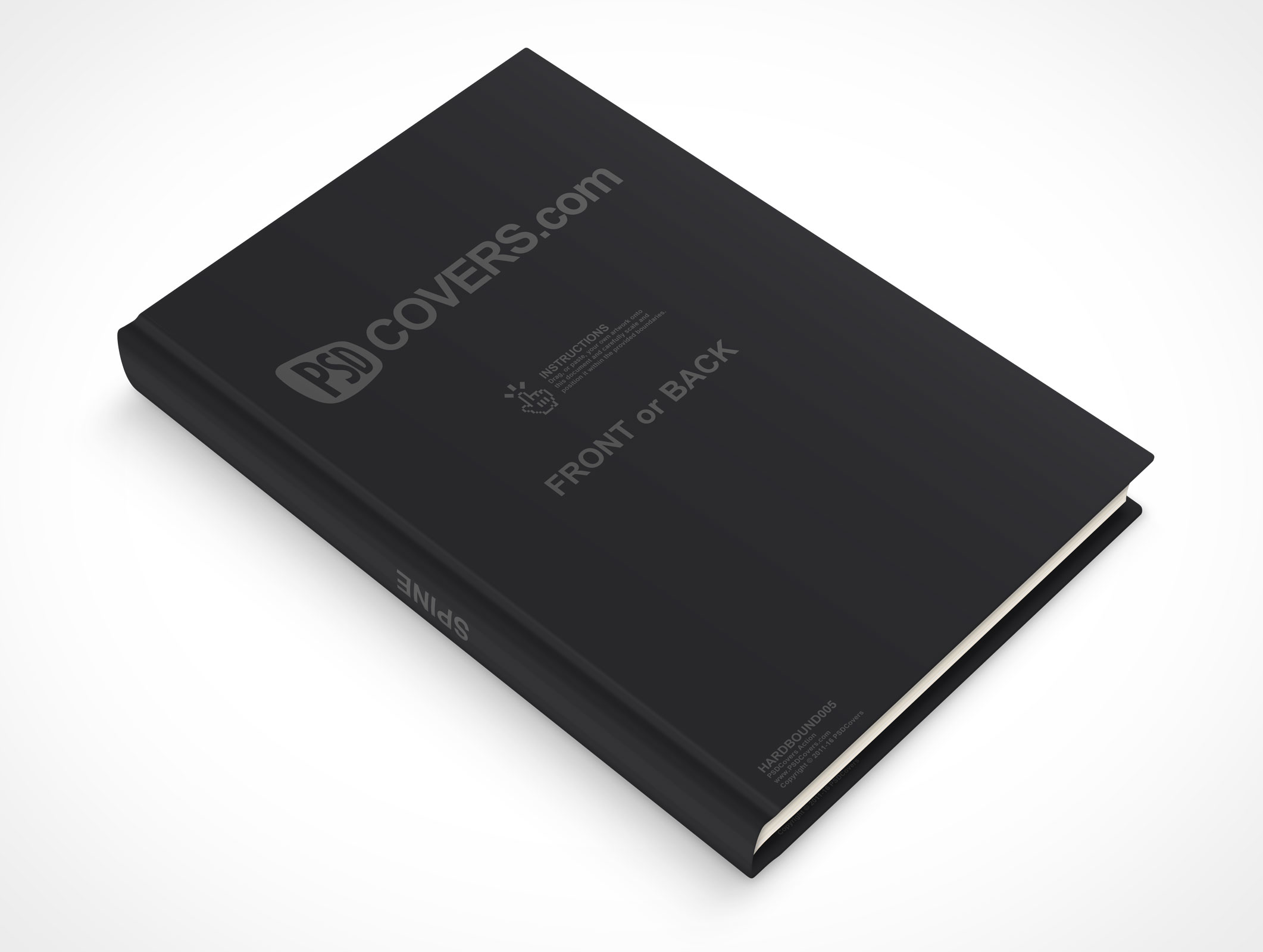 psdcovers laying down 45° hardbound book mockup