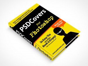 psdcovers hardbound book mockup on flat surface 45°