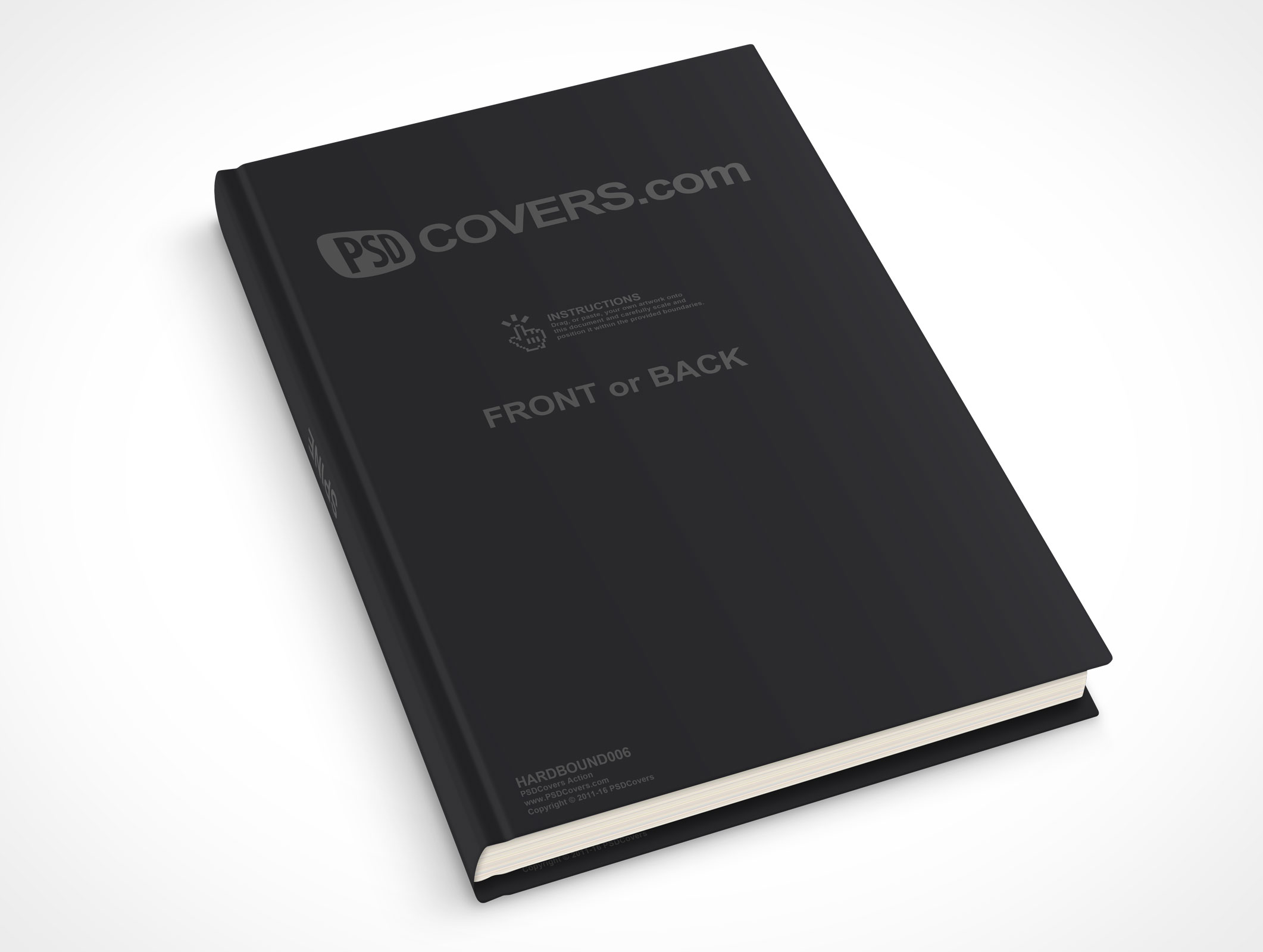 psdcovers laying down 30° hardbound book mockup