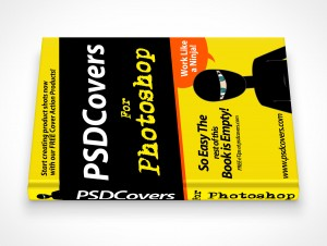 psdcovers hardbound book mockup on flat surface 90°
