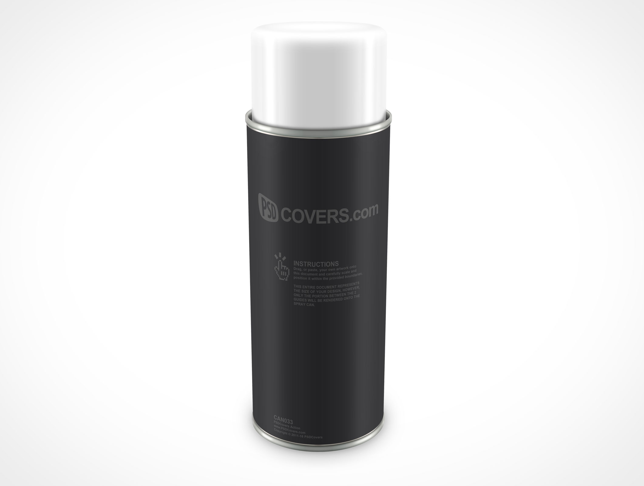 PSD Mockup Spray Can 340g 12ounce standing
