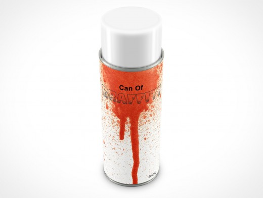 PSD Mockup Spray Can 340g Top View