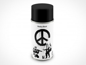 PSD Mockup Spray Can 8oz Banksy Black