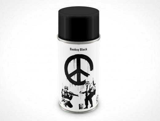 PSD Mockup Spray Can 8oz Banksy Black