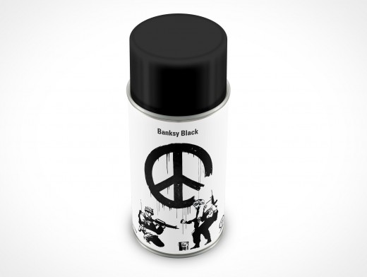 PSD Mockup Spray Can top 8oz Banksy Black