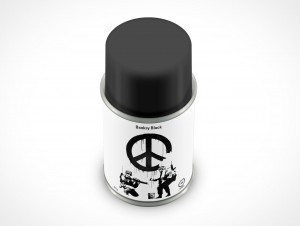 PSD Mockup Banksy Black Spray Can 85g