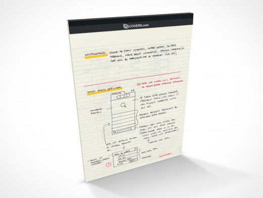 Front Cover Upright Note Pad PSD Covers