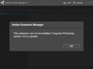 Extension Manager CC claims extension requires Photoshop 14 or greater
