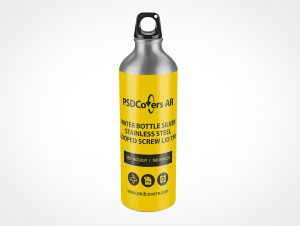 Steel Water Bottle Mockup