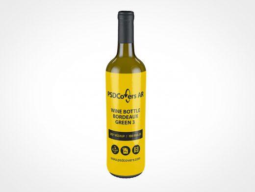 Green Wine Bottle Mockup