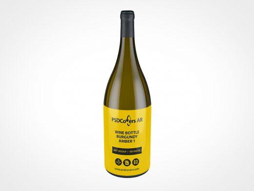 Amber Wine Bottle Mockup