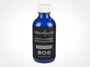 Blue Cannabis Bottle Mockup