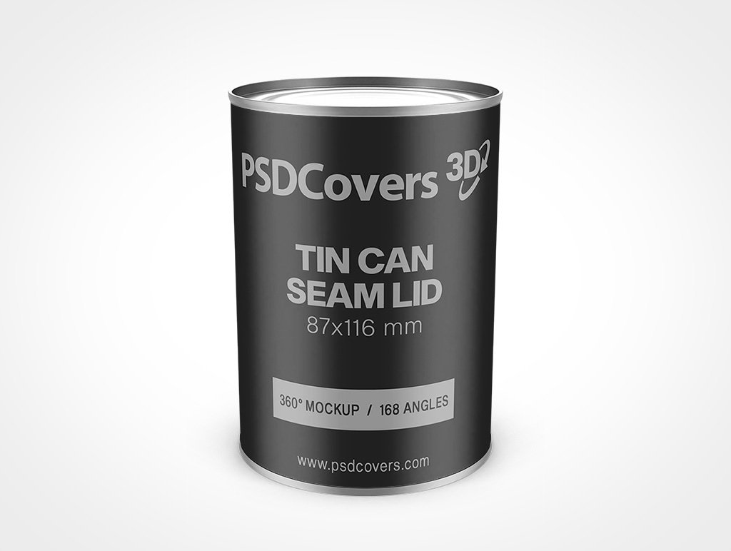 87x116 MM TIN CAN WITH REGULAR END MOCKUP