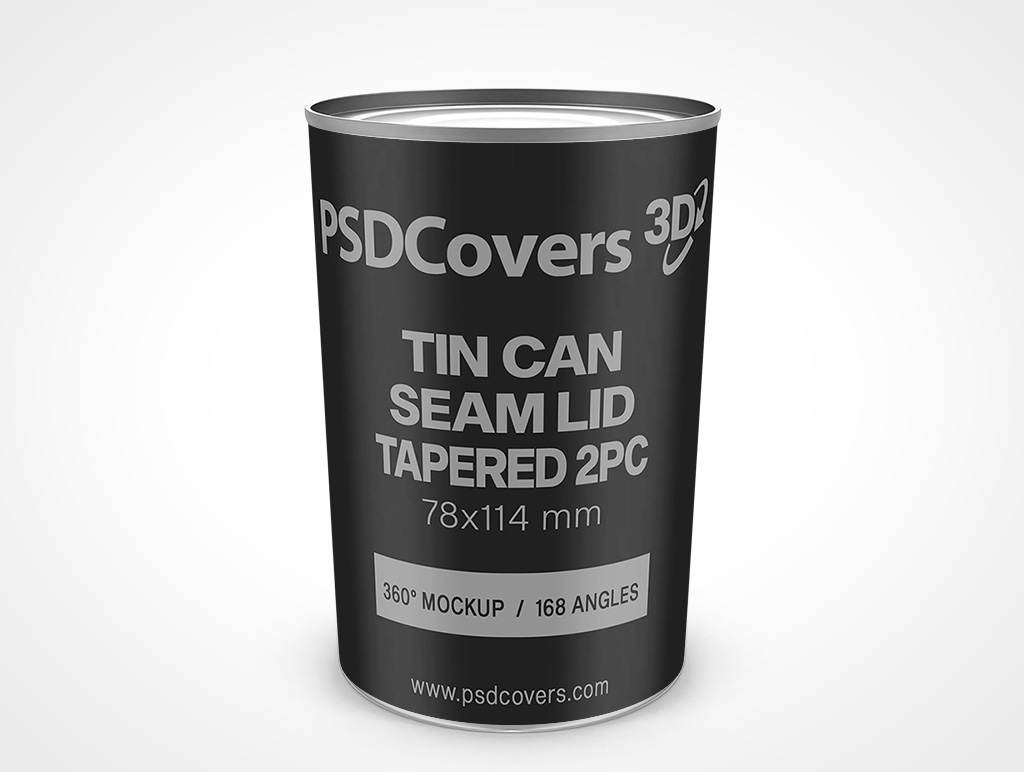 78X114 MM TIN CAN WITH SEAMED LID TAPERED SIDE 2 PIECE MOCKUP