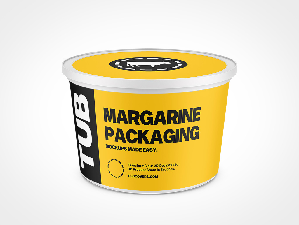 MARGARINE PACKAGING SNAP LID 64OZ MOCKUP 170X109