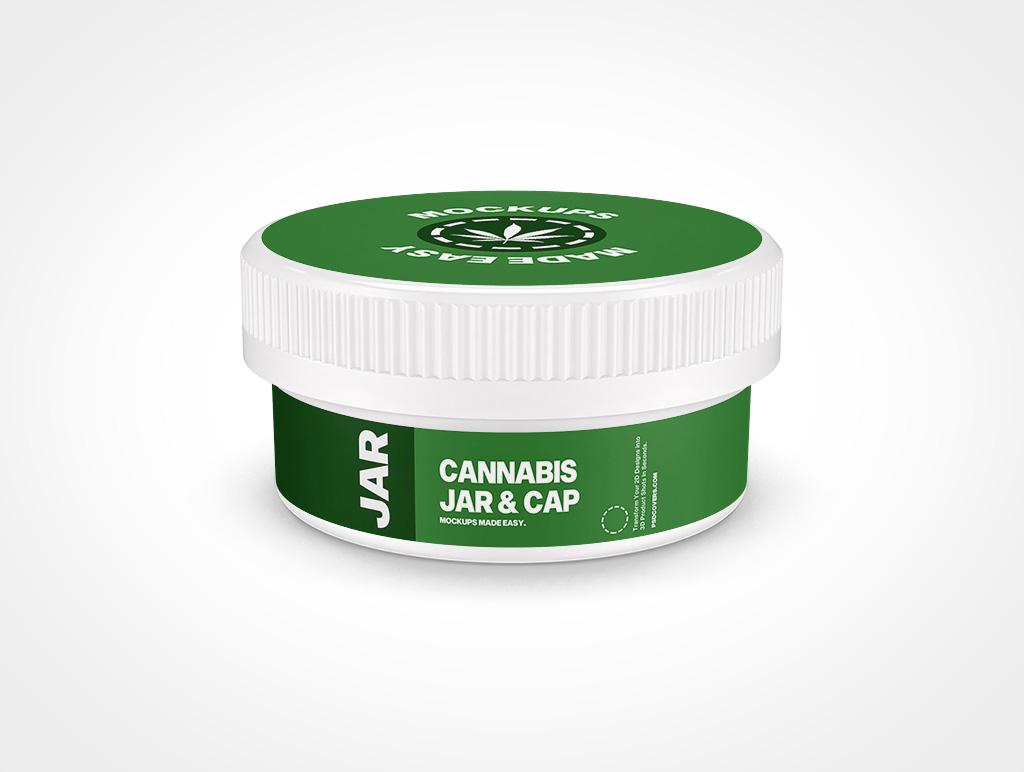 CANNABIS JAR CHILD RESISTANT CAP MOCKUP 77X37
