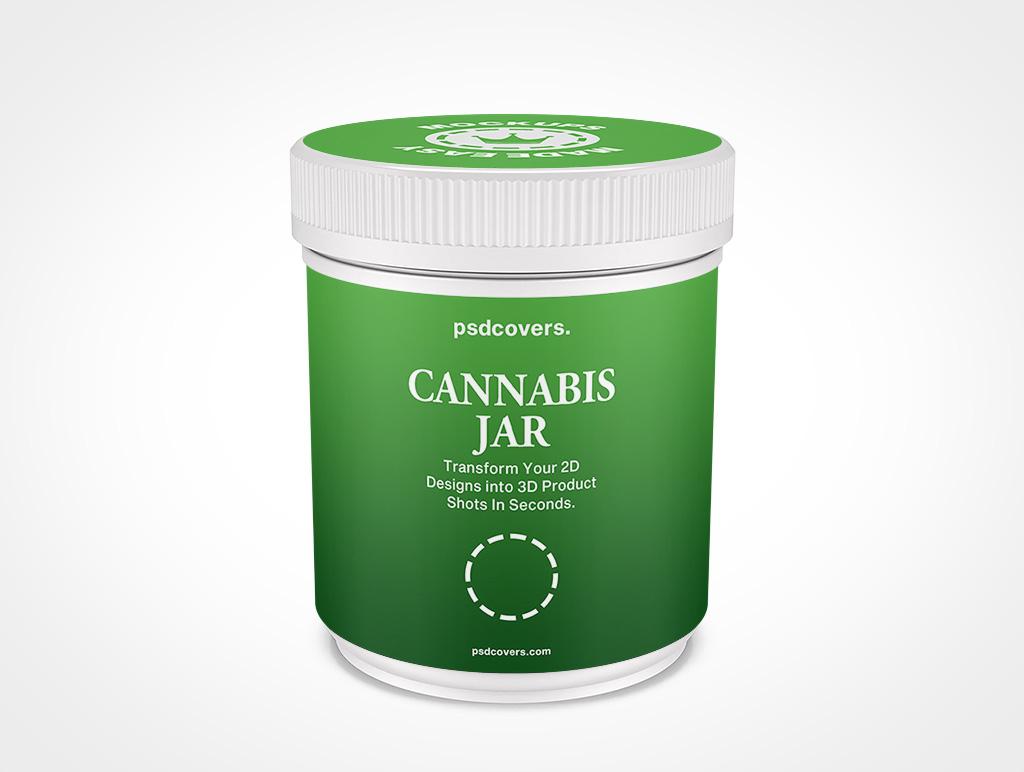 CANNABIS JAR CHILD RESISTANT CAP MOCKUP 97X109