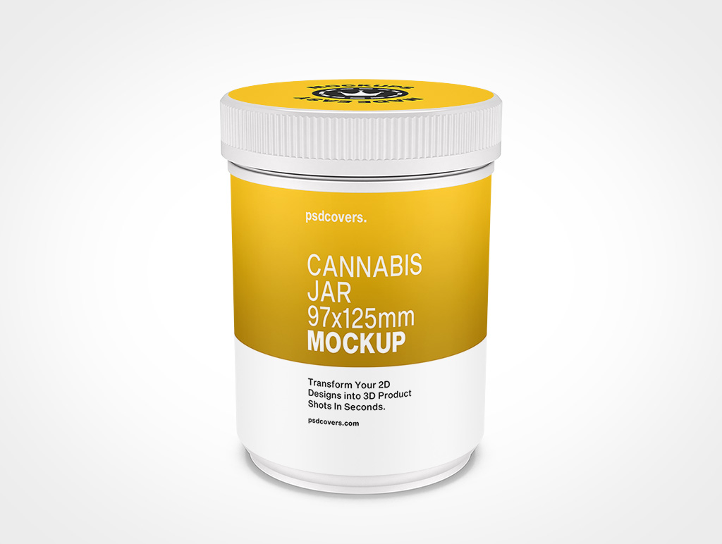CANNABIS JAR CHILD RESISTANT CAP MOCKUP 97X125