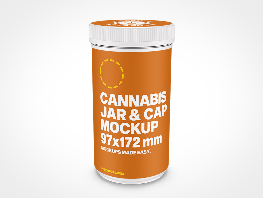 CANNABIS JAR CHILD RESISTANT CAP MOCKUP 97X172