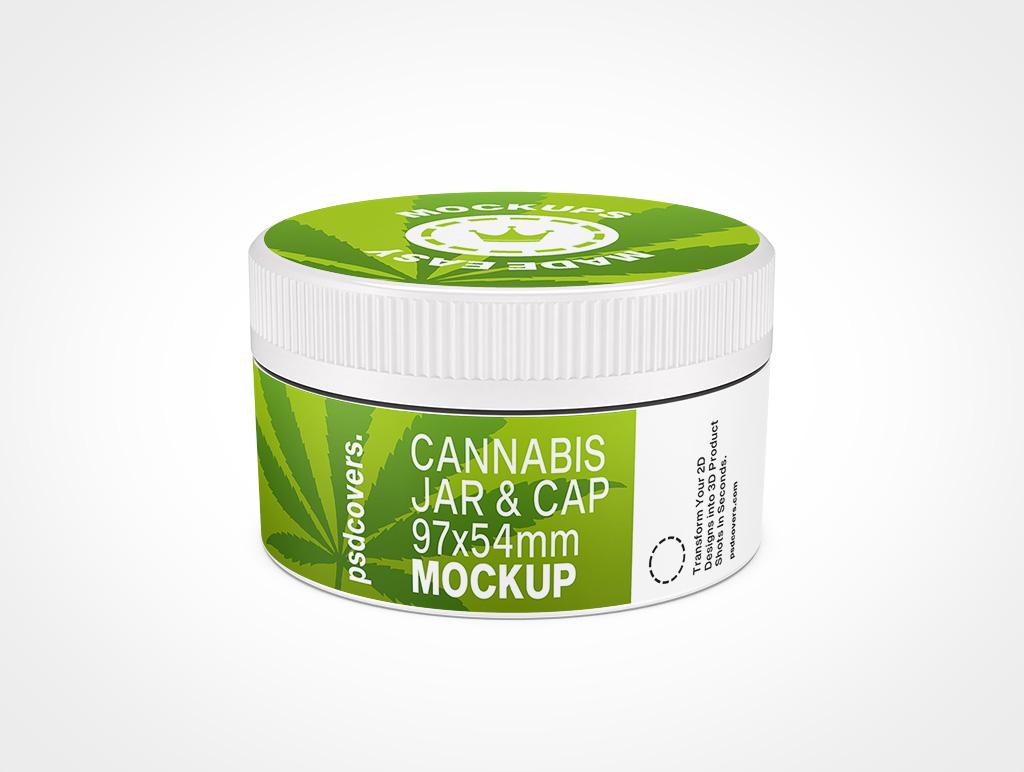 CANNABIS JAR CHILD RESISTANT CAP MOCKUP 97X54