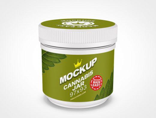 CANNABIS JAR CHILD RESISTANT CAP MOCKUP 97X93