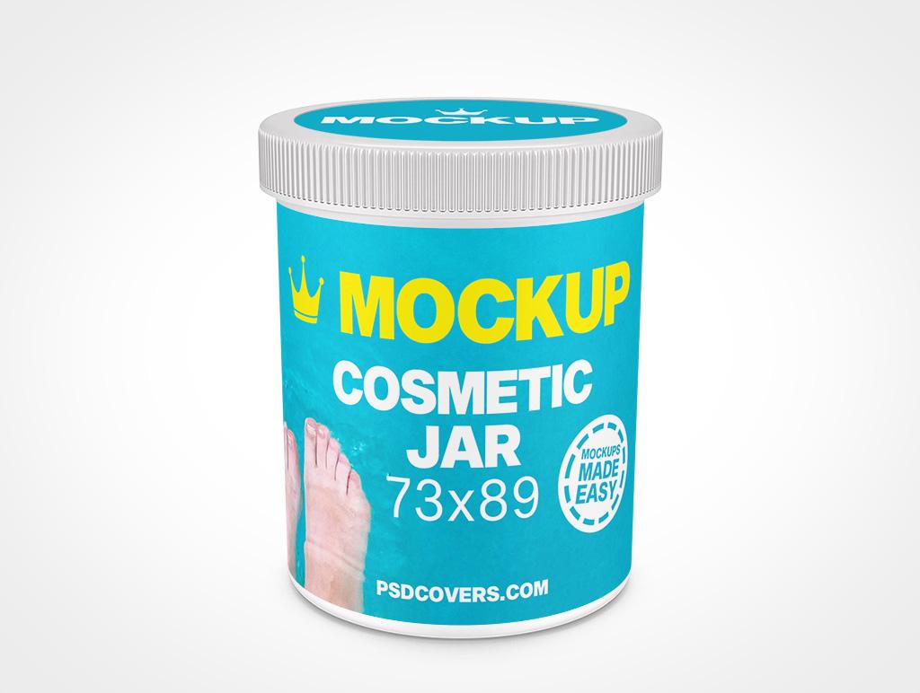 COSMETIC JAR RIBBED CAP MOCKUP 73X89